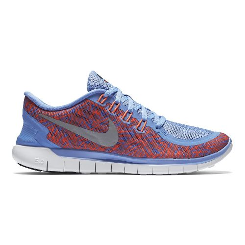 Womens Nike Free 5.0 Print Running Shoe - Chalk Blue/Crimson 6.5