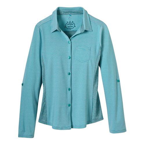 Womens Prana Kinley Shirt Short Sleeve Technical Tops - Dynasty Green M