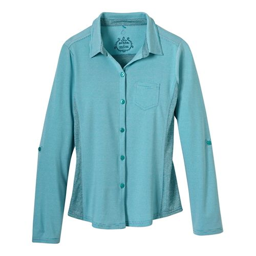 Womens Prana Kinley Shirt Short Sleeve Technical Tops - Dynasty Green S