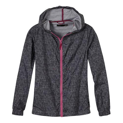 Womens Prana Callista Windbreaker Warm Up Hooded Jackets - Coal XS