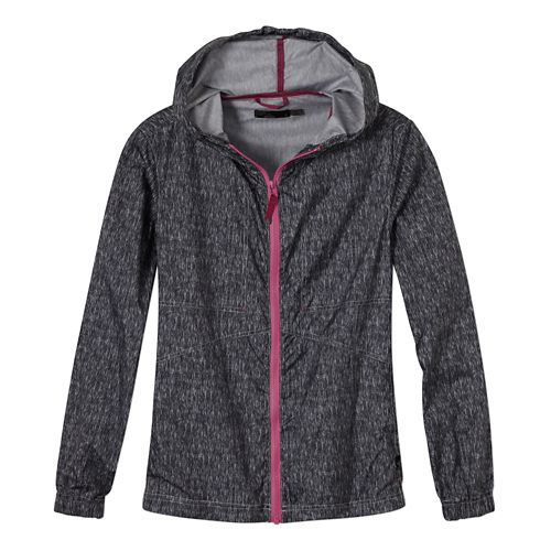 Womens Prana Callista Windbreaker Warm Up Hooded Jackets - Coal M
