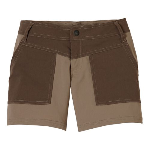 Womens Prana Asha Unlined Shorts - Dark Khaki 8