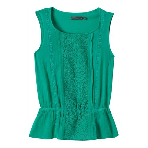 Womens Prana Lizzy Top Sleeveless Non-Technical Tops - Cool Green S