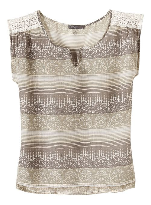 Womens Prana Illiana Short Sleeve Non-Technical Tops - Moonrock L