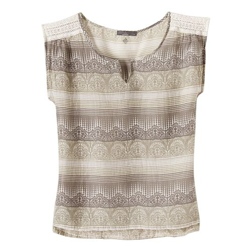 Womens Prana Illiana Short Sleeve Non-Technical Tops - Moonrock M