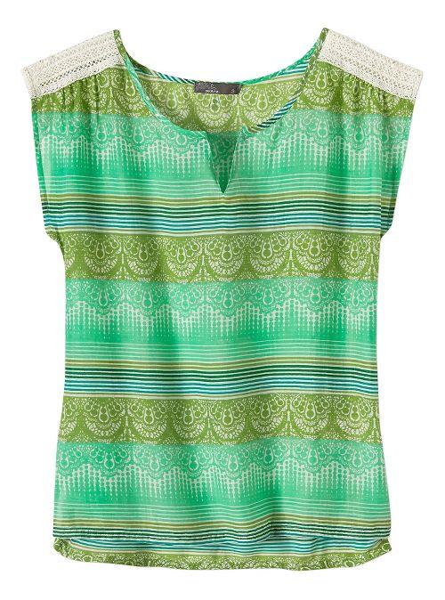 Womens Prana Illiana Short Sleeve Non-Technical Tops - Light Jade S