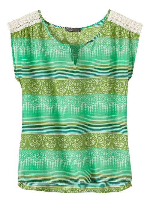 Womens Prana Illiana Short Sleeve Non-Technical Tops - Moonrock XS