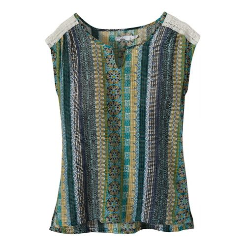 Womens Prana Illiana Short Sleeve Non-Technical Tops - Bijou Blue M