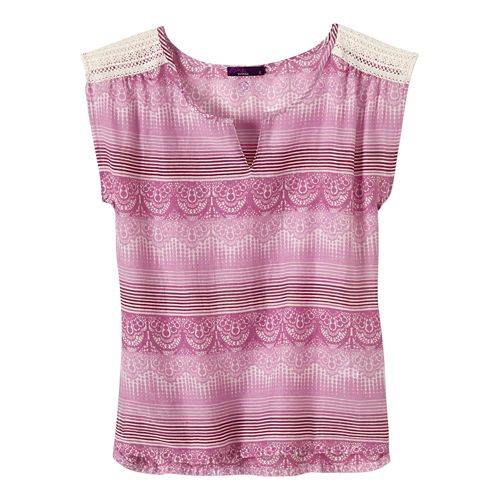 Womens Prana Illiana Short Sleeve Non-Technical Tops - True Orchid L