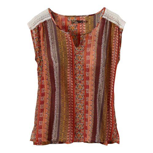 Womens Prana Illiana Short Sleeve Non-Technical Tops - Tangerine XL