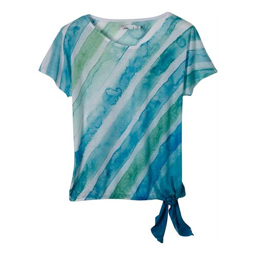 Womens Prana Flora Short Sleeve Non-Technical Tops - Cool Green M