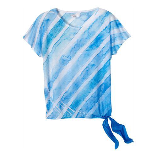 Womens Prana Flora Short Sleeve Non-Technical Tops - Danube Blue XS