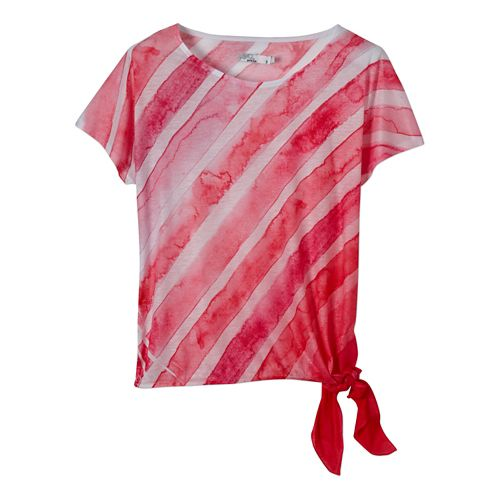 Womens Prana Flora Short Sleeve Non-Technical Tops - Pinkberry L