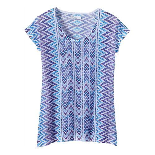 Womens Prana Danni Short Sleeve Non-Technical Tops - Sail Blue XL