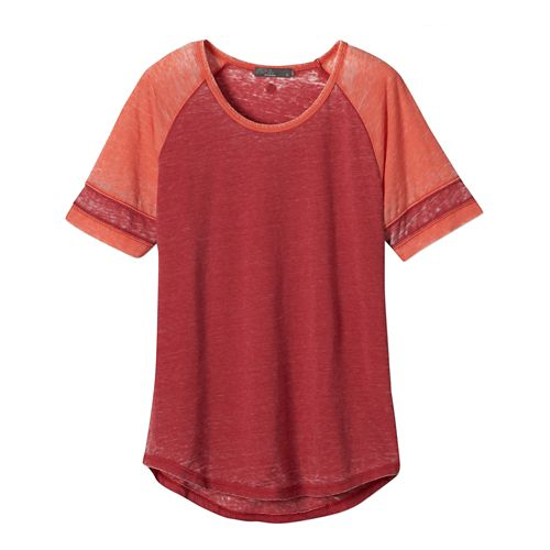 Womens Prana Cleo Tee Short Sleeve Non-Technical Tops - Sunwashed Red L