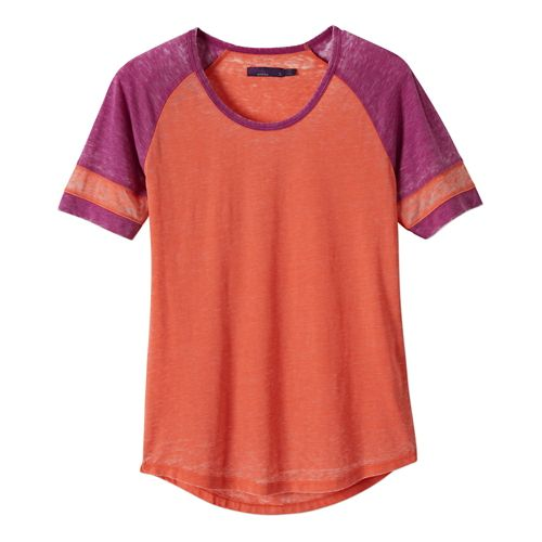 Womens Prana Cleo Tee Short Sleeve Non-Technical Tops - Neon Orange M