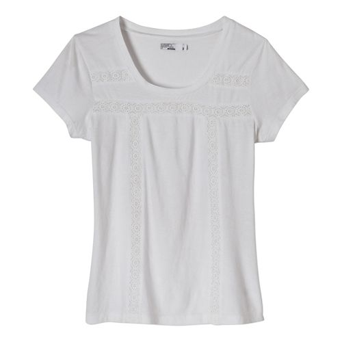 Womens Prana Tisha Short Sleeve Non-Technical Tops - White L