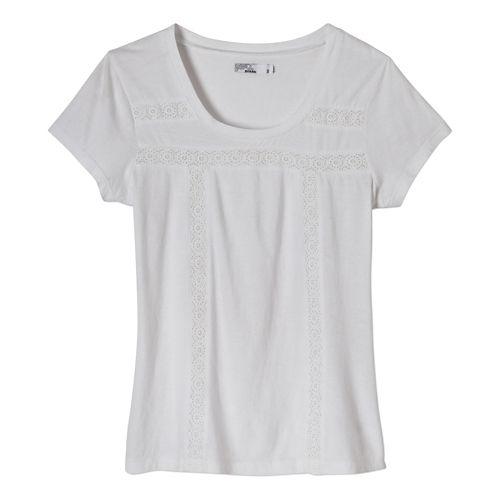 Womens Prana Tisha Short Sleeve Non-Technical Tops - White XS