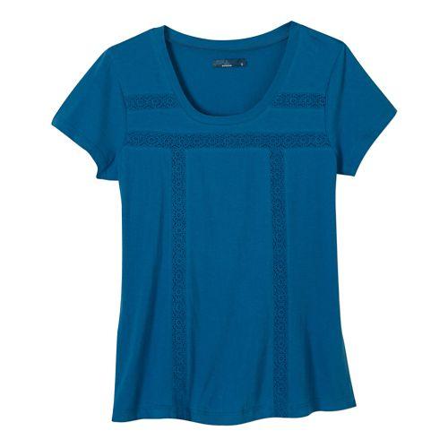 Womens Prana Tisha Short Sleeve Non-Technical Tops - Mosaic Blue XL