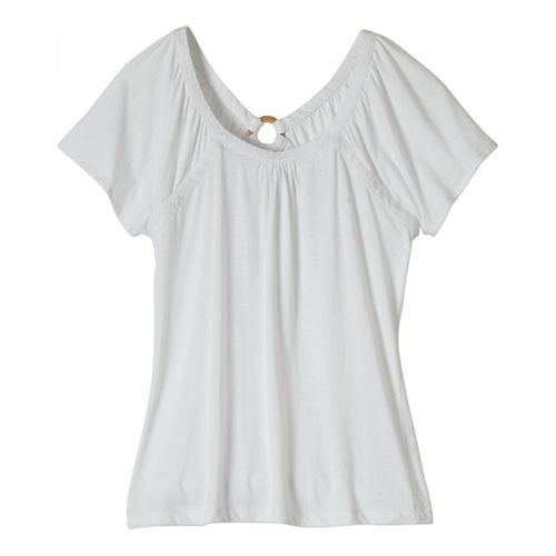 Womens Prana Kiki Short Sleeve Non-Technical Tops - White XS