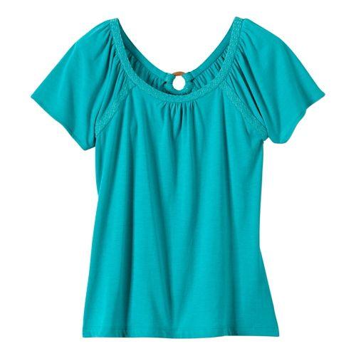 Womens Prana Kiki Short Sleeve Non-Technical Tops - Dynasty Green XL