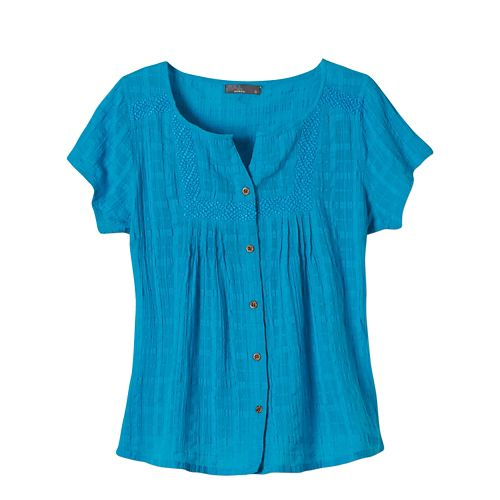 Womens Prana Lucy Short Sleeve Non-Technical Tops - Cove M