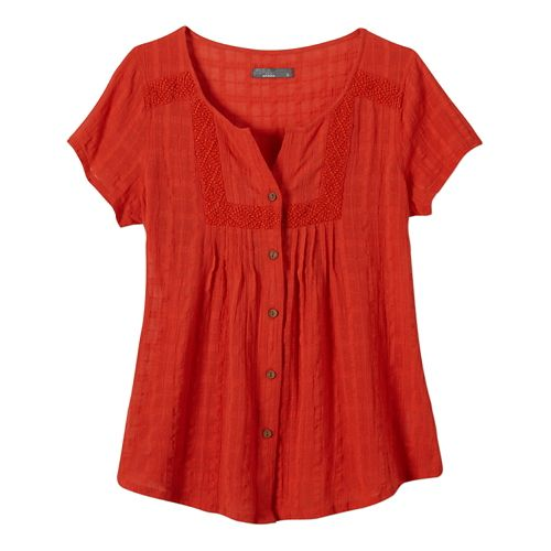 Womens Prana Lucy Short Sleeve Non-Technical Tops - Fireball M