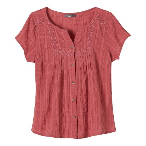 Womens Prana Lucy Short Sleeve Non-Technical Tops - Red Slate L