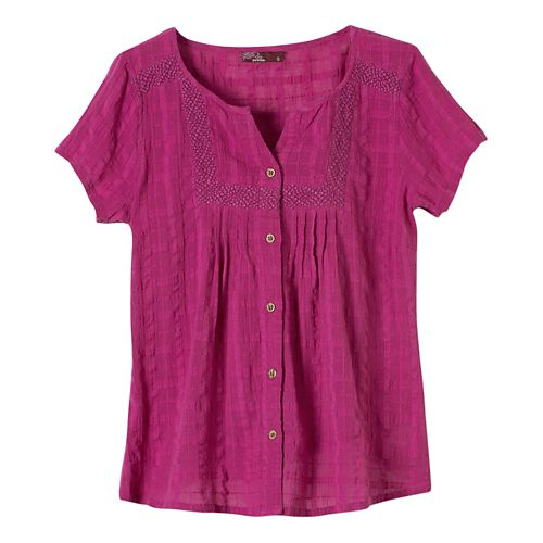 Womens Prana Lucy Short Sleeve Non-Technical Tops - Rich Fuchsia M