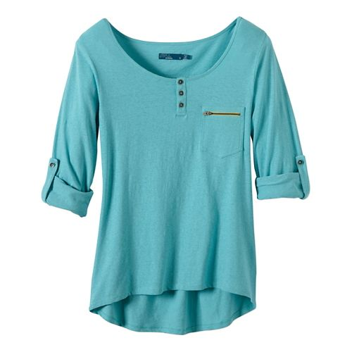 Womens Prana Jess Short Sleeve Non-Technical Tops - Dusty Turq S