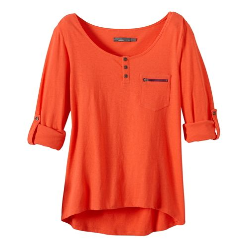 Womens Prana Jess Short Sleeve Non-Technical Tops - Neon Orange XL