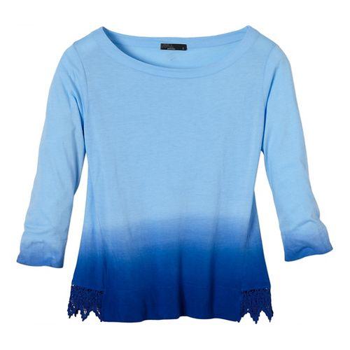 Womens Prana Deanna Long Sleeve No Zip Non-Technical Tops - Blue Jay XL
