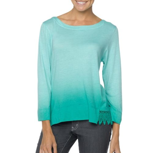 Womens Prana Deanna Long Sleeve No Zip Non-Technical Tops - Dynasty Green XL