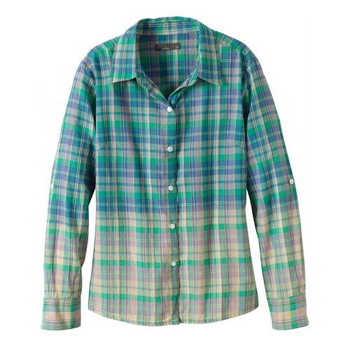 Womens Prana Britt Long Sleeve No Zip Non-Technical Tops - Cool Green M