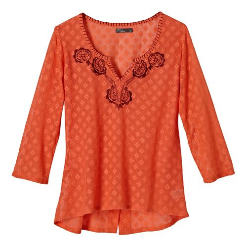 Womens Prana Winnie Long Sleeve No Zip Non-Technical Tops - Glowing Coral S