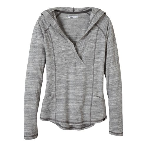 Womens Prana Demi Long Sleeve Hooded Non-Technical Tops - Coal L