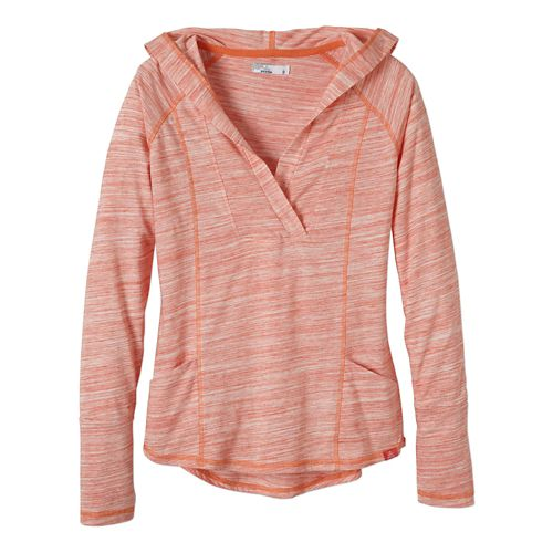 Womens Prana Demi Long Sleeve Hooded Non-Technical Tops - Neon Orange S