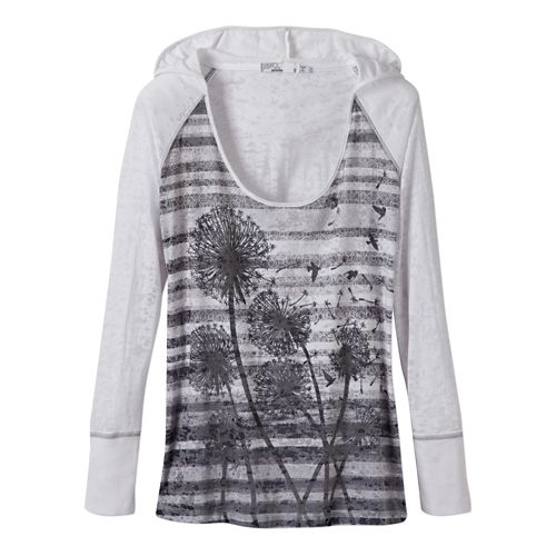 Womens Prana Aura Long Sleeve Hooded Non-Technical Tops - White M
