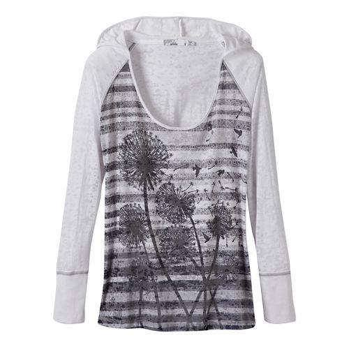 Womens Prana Aura Long Sleeve Hooded Non-Technical Tops - White XS