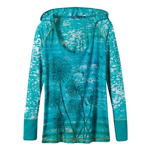 Womens Prana Aura Long Sleeve Hooded Non-Technical Tops - Dynasty Green M