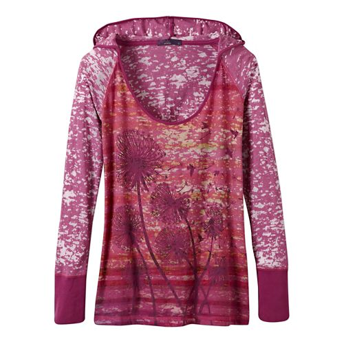 Womens Prana Aura Long Sleeve Hooded Non-Technical Tops - Vivid Viola L