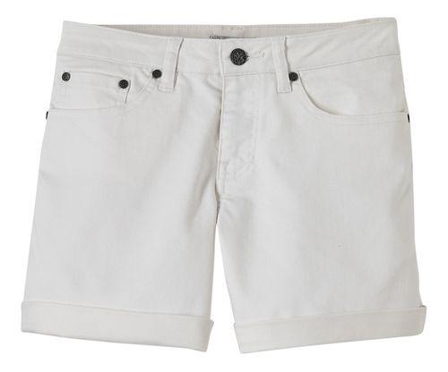 Womens Prana Kara Denim Unlined Shorts - White 8