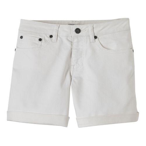 Womens Prana Kara Denim Unlined Shorts - White 6