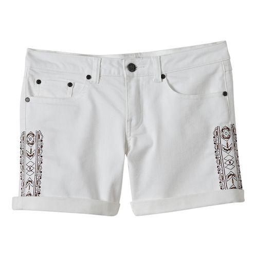 Womens Prana Kara Denim Unlined Shorts - White Aztec 14