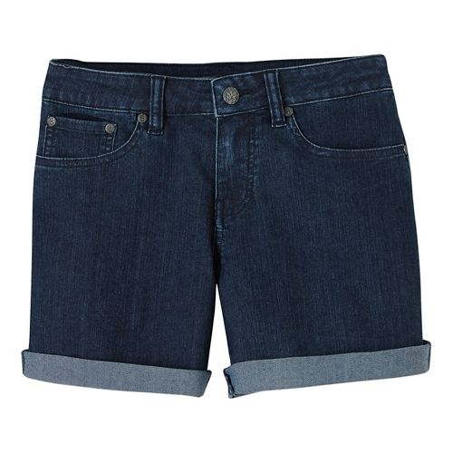 Womens Prana Kara Denim Unlined Shorts - Indigo OS