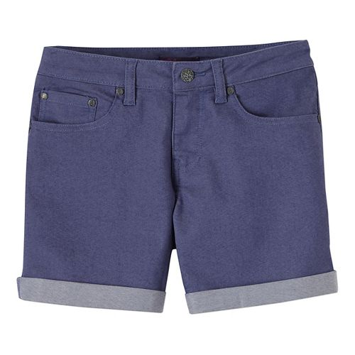 Womens Prana Kara Denim Unlined Shorts - Purple Fog 12
