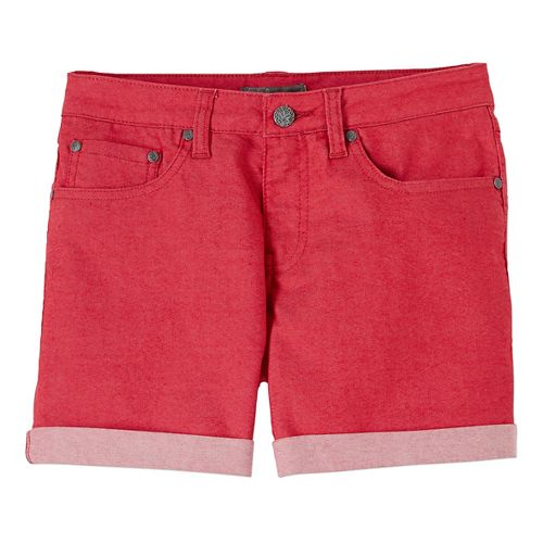 Womens Prana Kara Denim Unlined Shorts - Sunwashed Red 12