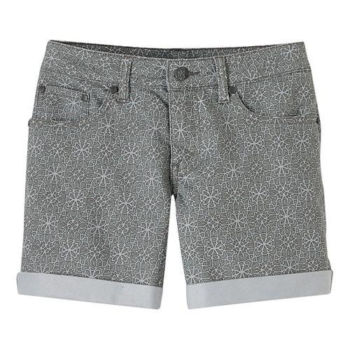 Womens Prana Kara Denim Unlined Shorts - Denim Aztec 10