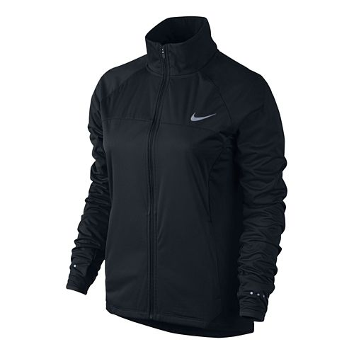 Womens Nike Shield FZ 2.0 Warm-Up Unhooded Jacket - Black XL