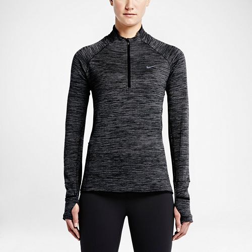 Womens Nike Element Sphere Long Sleeve 1/2 Zip Technical Tops - Black/Heather M